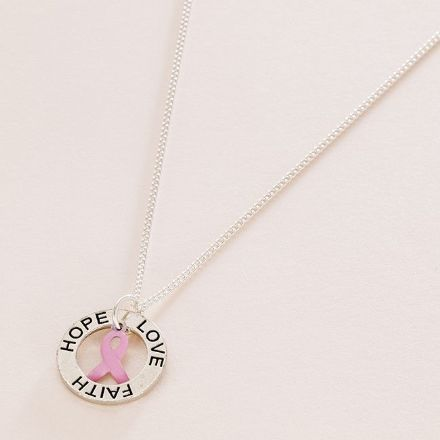 Breast Cancer Awareness Necklace, Faith Hope Love